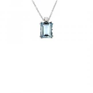 Pendente in oro bianco 18kt con acquamarina ottagonale 9x7mm e diamanti GVS1