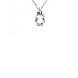 Pendente in oro bianco 18kt con acquamarina ovale 0,67 ct 7x5mm e diamanti GVS1