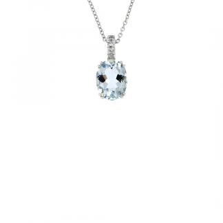 Pendente in oro bianco 18kt con acquamarina ovale 9x7mm e diamanti GVS1