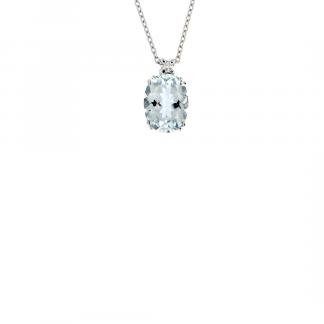 Pendente in oro bianco 18kt con acquamarina ovale 1,90 ct 9x7mm e diamanti GVS1