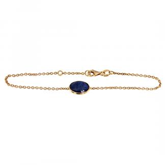Bracciali in oro rosa 18kt con zaffiro blu ovale cabochon sfaccettato