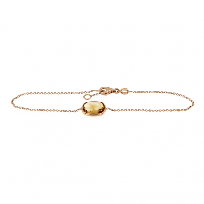 Bracciale in oro rosa 18kt con citirno ovale brio 10x8mm