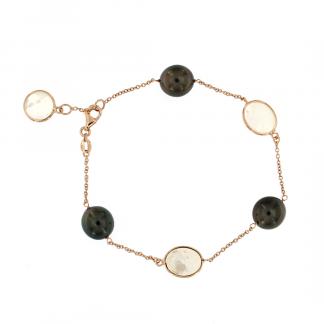 Bracciale in oro rosa 18kt con piastrine in madreperla bianca e perle tahiti