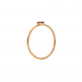 Anello in oro rosa 18kt con rubino taglio brillante 3mm