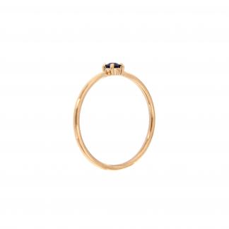Anello in oro rosa 18kt con zaffiro taglio brillante 3mm