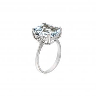 Anello in oro bianco 18kt con acquamarina ottagonale 12x10mm e diamanti GVS1