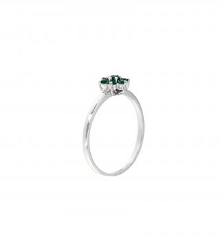 Anello in oro bianco 18kt con smeraldo  1.75-2.00mm