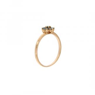 Anello in oro rosa 18kt con topazio azzurro 1,75-2mm