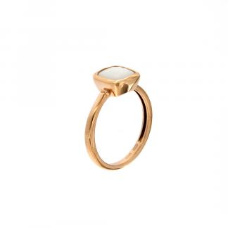 Anello in oro rosa 18kt con agata bianca antico brio 8mm