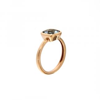 Anello in oro rosa 18kt con topazio azzurro antico brio 8mm