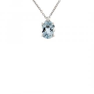 Pendente in oro bianco 18kt con acquamarina ovale 10x8mm e diamanti GVS1
