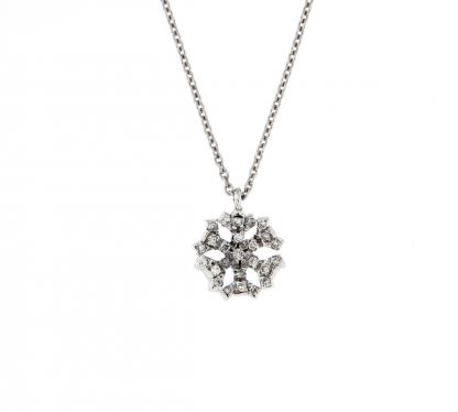 Pendente in oro bianco 18kt cristallo di neve con diamanti GVS1