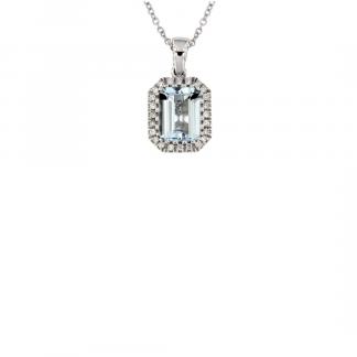 Pendente in oro bianco 18kt con acquamarina ottagonale 8x6mm e contorno di diamanti GVS1