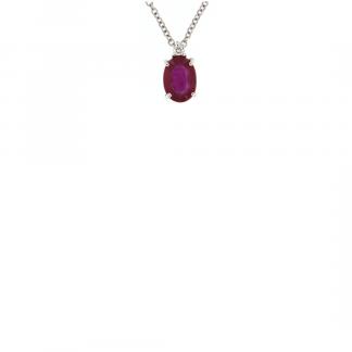 Pendente in oro bianco 18kt con rubino ovale 7x5mm e diamanti GVS1