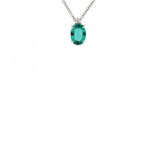 Pendente in oro bianco 18kt con smeraldo ovale 7x5mm e diamanti GVS1