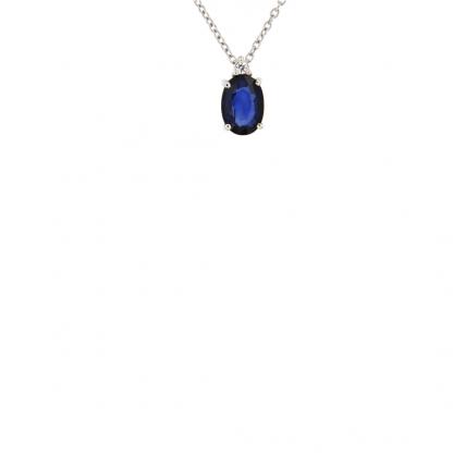 Pendente in oro bianco 18kt con zaffiro blu ovale 7x5mm e diamanti GVS1