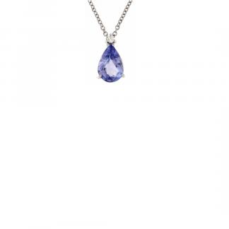 Pendente in oro bianco 18kt con tanzanite taglio goccia 7x5mm e diamanti GVS1