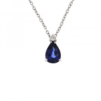 Pendente in oro bianco 18kt con zaffiro blu goccia 7x5mm e diamanti GVS1