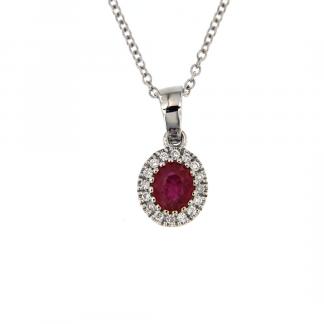 Pendente in oro bianco 18kt con rubino ovale 5x4mm e diamanti GVS1