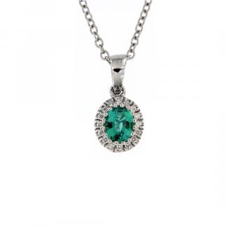 Pendente in oro bianco 18kt con smeraldo ovale 5x4mm e diamanti GVS1