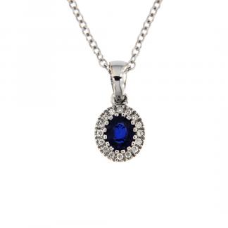 Pendente in oro bianco 18kt con zaffiro blu ovale 5x4mm e diamanti GVS1