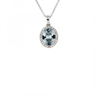 Pendente in oro bianco 18kt con acquamarina ovale 10x8mm e contorno di diamanti GVS1