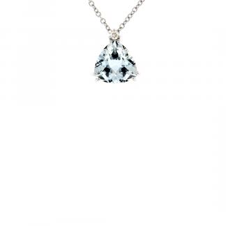 Pendente in oro bianco 18kt con acquamarina trillon 10mm e diamanti GVS1
