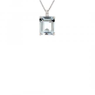 Pendente in oro bianco 18kt con acquamarina taglio ottagonale 12x10mm e diamanti GVS1