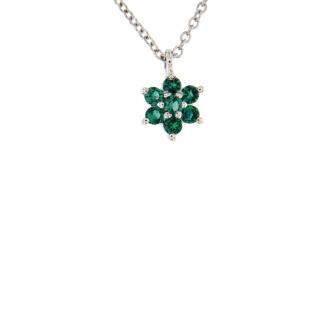 Pendente in oro bianco 18kt con smeraldo taglio brillante 1,75 e 2mm