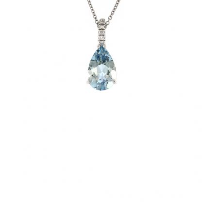 Pendente in oro bianco 18kt con acquamarina 2,43 ct taglio goccia 12x8mm e diamanti GVS1