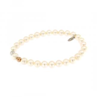 Bracciale con perle freshwater 6,5-7mm e elementi in oro 18kt