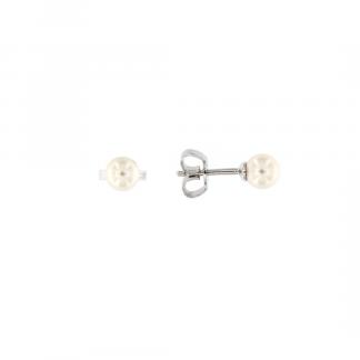 Orecchini in oro bianco 18kt con perle akoya 5-5,5mm