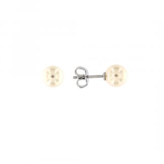 Orecchini in oro bianco 18kt con perle akoya 7-7,5mm