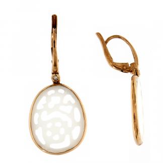 Orecchini in oro rosa 18kt con agata bianca traforata e diamanti GVS1