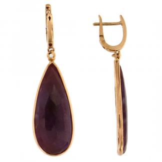 Orecchini in oro rosa 18kt con rubino goccia flat e diamanti GVS1
