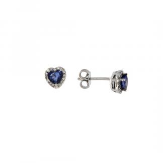 Orecchini in oro bianco 18kt con zaffiro blu cuore 5mm e diamanti GVS1