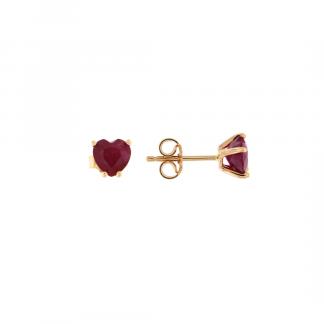 Orecchini in oro rosa 18kt  con rubino cuore 6mm