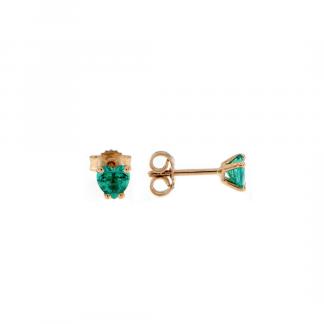 Orecchini in oro rosa 18kt con smeraldo cuore 5mm