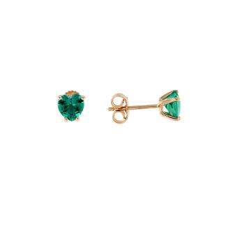 Orecchini in oro rosa 18kt con smeraldo cuore 6mm