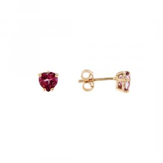 Orecchini in oro rosa 18kt con Topazio rosa cuore 6mm