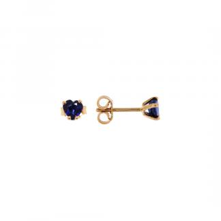 Orecchini in oro rosa 18kt con zaffiro blu cuore 5mm