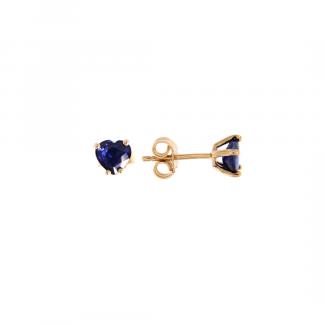 Orecchini in oro rosa 18kt con zaffiro blu cuore 6mm