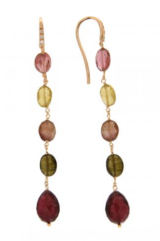 Orecchini in oro rosa 18kt con tormalina ovale e diamanti GVS1