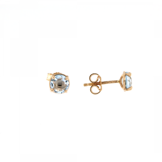 Orecchini in oro rosa 18kt con Topazio azzurro tondo brio 6mm
