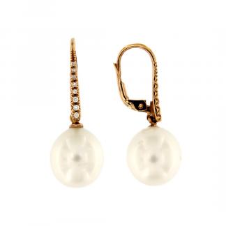 Orecchini in oro rosa 18kt con perla south sea e diamanti GVS1