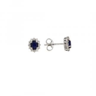 Orecchini in oro bianco 18kt con zaffiro taglio ovale 5x4mm  e contorno in diamanti GVS1
