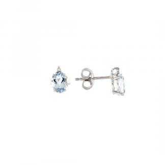 Orecchini in oro bianco 18kt con acquamarina ovale 7x5mm 1,42ct e diamanti GVS1