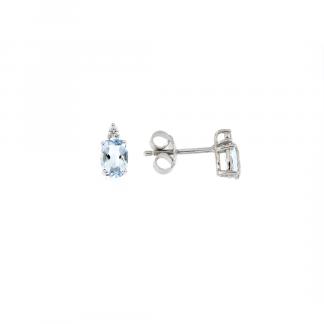 Orecchini in oro bianco 18kt con acquamarina ovale 6x4mm 0,83ct e diamanti GVS1