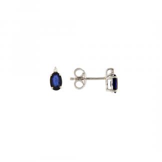 Orecchini in oro bianco 18kt con zaffiro blu taglio ovale 6x4mm e diamanti GVS1