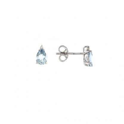Orecchini in oro bianco 18kt con acquamarina goccia 7x5mm 1,20ct e diamanti GVS1